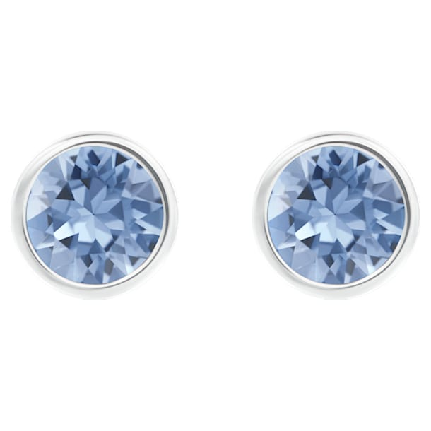 스와로브스키 귀걸이 Swarovski Solitaire Pierced Earrings, Blue, Rhodium plated