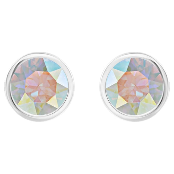 Solitaire Pierced Earrings, Multi-coloured, Rhodium plated - Swarovski, 5101343