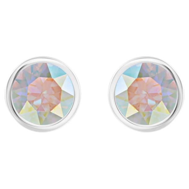 Solitaire pierced earrings, Multicolored, Rhodium plated - Swarovski, 5101343