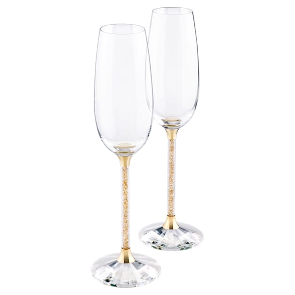 Crystalline Toasting Flutes , Gold Tone (Set of 2) - Swarovski, 5102143