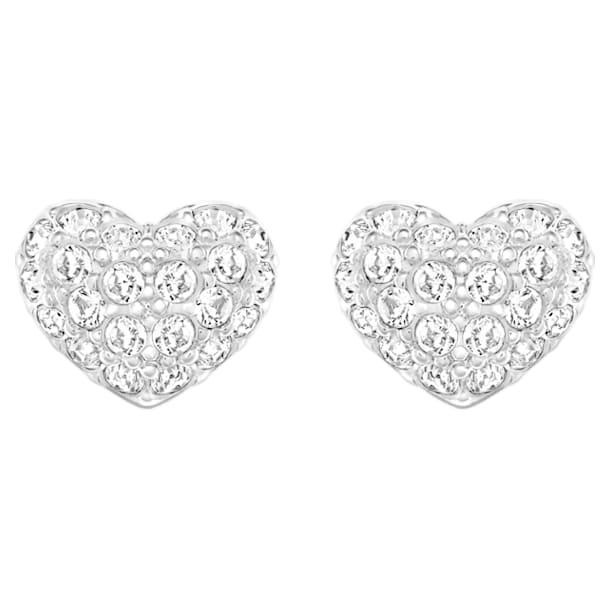 Heart pierced earrings, Heart, White, Rhodium plated - Swarovski, 5109990
