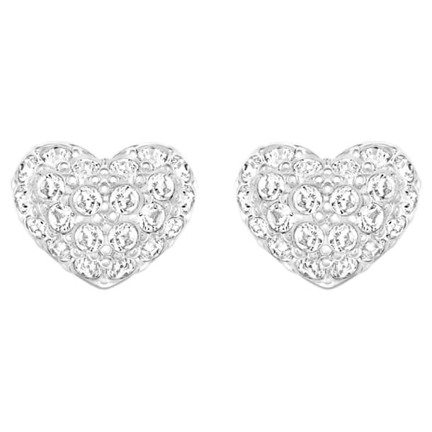 Heart Pierced Earrings, White, Rhodium plated - Swarovski, 5109990