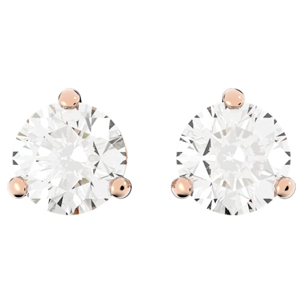 Solitaire stud earrings, White, Rose gold-tone plated - Swarovski, 5112156