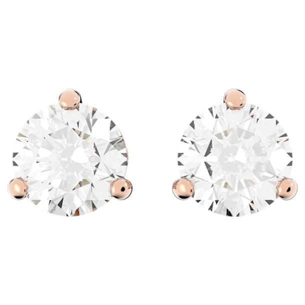 Cercei cu șurub Solitaire, albi, placați în nuanță aur roz - Swarovski, 5112156
