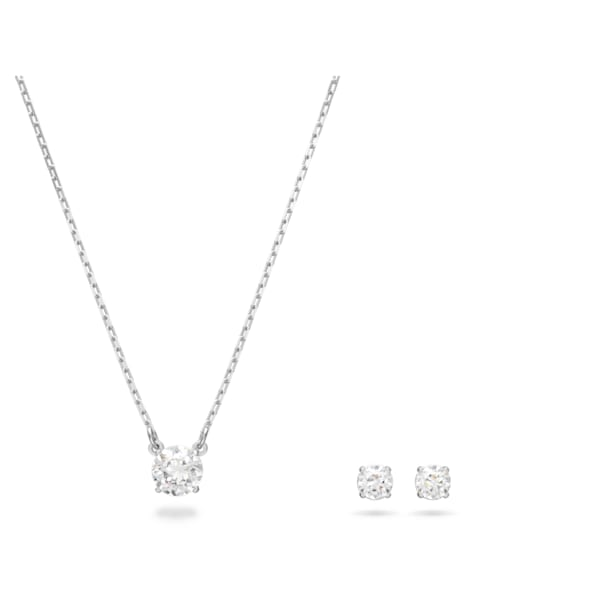 Attract Round Set, White, Rhodium plated - Swarovski, 5113468