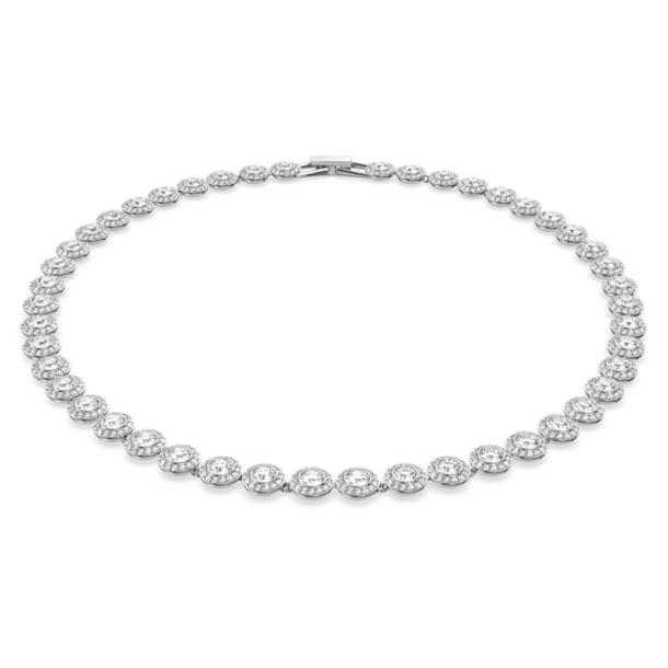 Angelic necklace, Round, White, Rhodium plated - Swarovski, 5117703