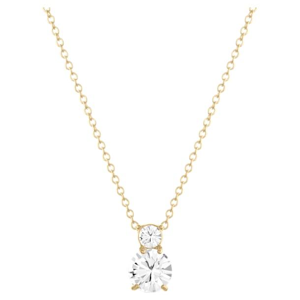 Solitaire Double pendant, White, Gold-tone plated - Swarovski, 5120647