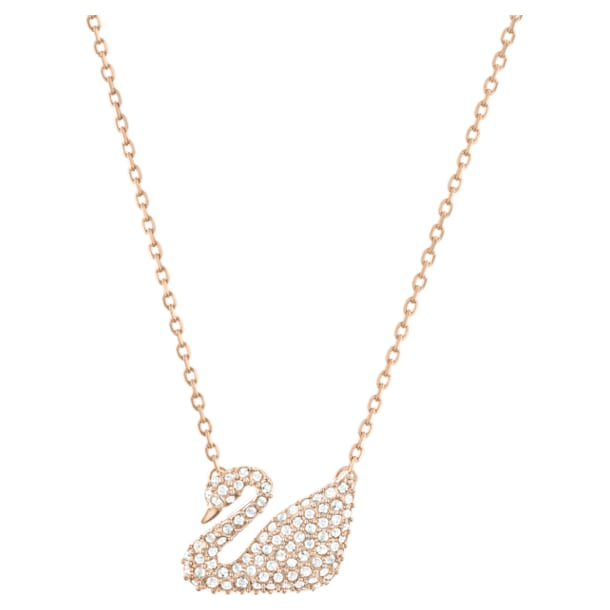 Swan Necklace, White, Rose-gold tone plated - Swarovski, 5121597