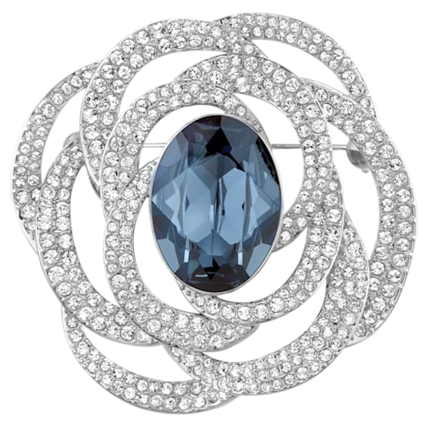 Barrett Brooch, Blue, Rhodium plated - Swarovski, 5122715