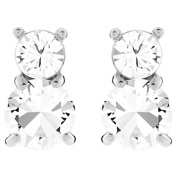 Solitaire Double Pierced Earrings, White, Rhodium plated - Swarovski, 5128808