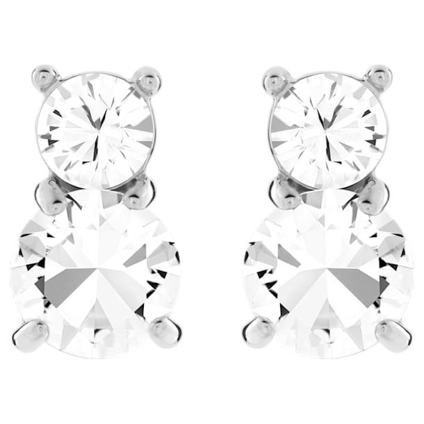 Solitaire Double oorstekers, Wit, Rodium toplaag - Swarovski, 5128808