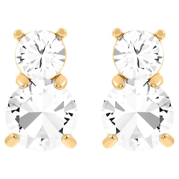 Orecchini Solitaire Double, Bianco, Placcato color oro - Swarovski, 5128809