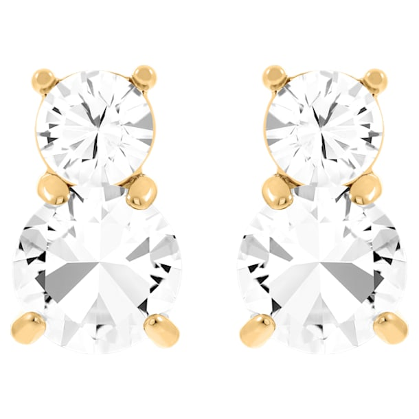 Solitaire Double oorstekers, Wit, Goudkleurige toplaag - Swarovski, 5128809