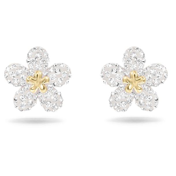 Tough stud earrings, Flower, Yellow, Mixed metal finish - Swarovski, 5136838