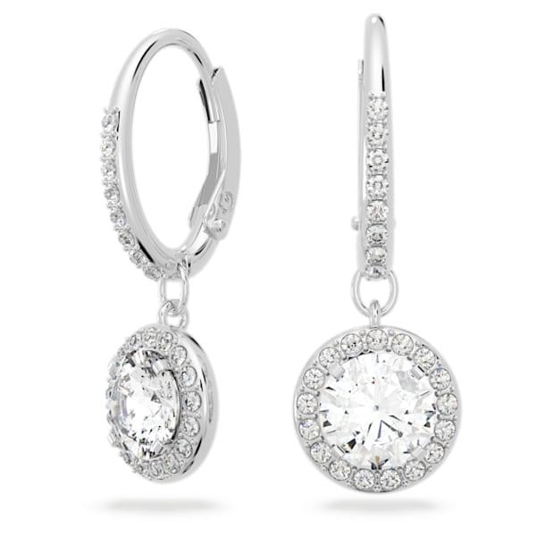 Angelic Pierced Earrings, White, Rhodium plated - Swarovski, 5142721