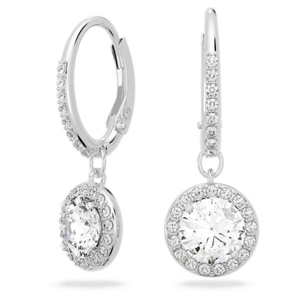 Boucles d'oreilles Angelic, Cristal taille rond, Blanches, Métal rhodié - Swarovski, 5142721