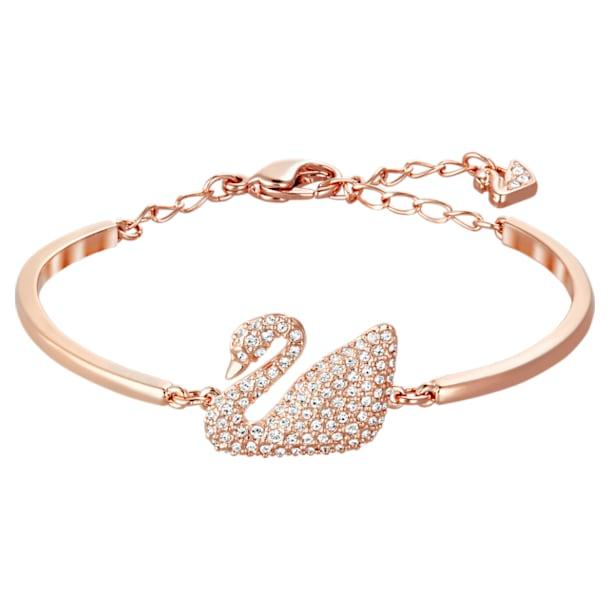 Swan bangle, Swan, White, Rose gold-tone plated - Swarovski, 5142752