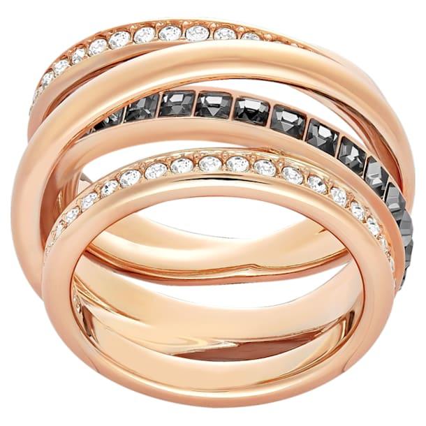 Prsten Dynamic, šedý, pozlacený růžovým zlatem - Swarovski, 5143411