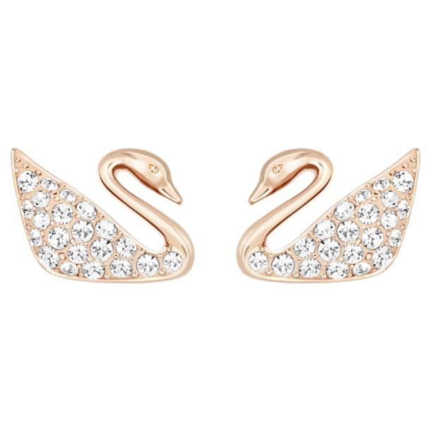Swan Pierced Earrings, White, Rose-gold tone plated - Swarovski, 5144289