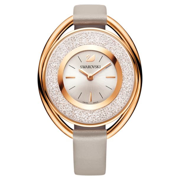 Crystalline Oval Watch, Leather strap, Grey, Rose-gold tone PVD - Swarovski, 5158544