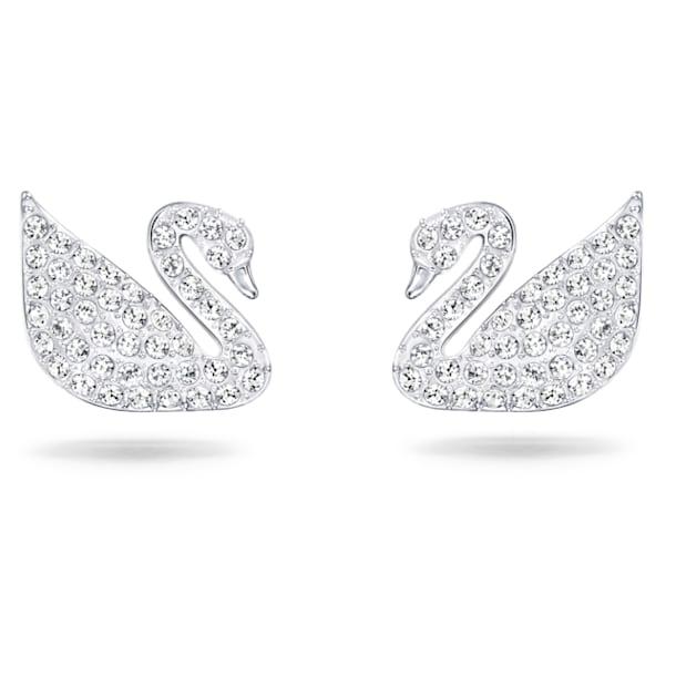 Swan Pavé 穿孔耳环, 天鹅, 白色, 镀铑 - Swarovski, 5161256