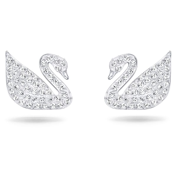 Swan Pierced Earrings, White, Rhodium plated - Swarovski, 5161256