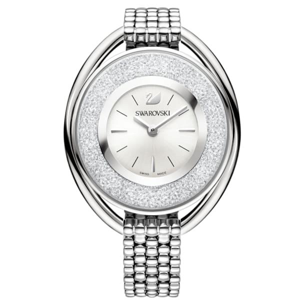 Crystalline Oval Watch, Metal bracelet, White, Stainless steel - Swarovski, 5181008