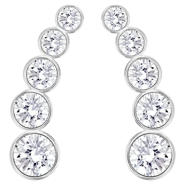 Harley Pierced Earrings, White, Rhodium Plating - Swarovski, 5181489