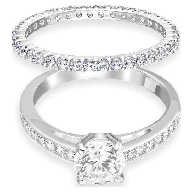 Attract 戒指, 套装 (2),圆形、密镶, 白色, 镀铑 - Swarovski, 5184317
