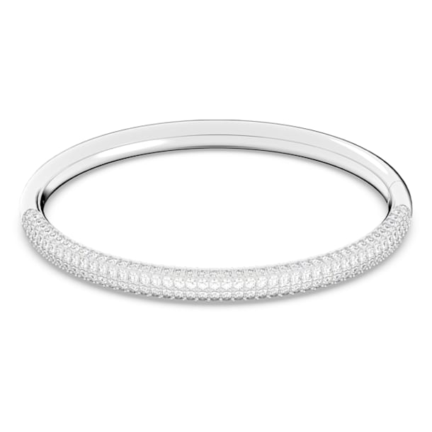 Stone bangle, White, Rhodium plated - Swarovski, 5184515