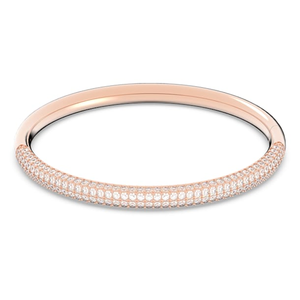 Stone Bangle, White, Rose-gold tone plated - Swarovski, 5184516