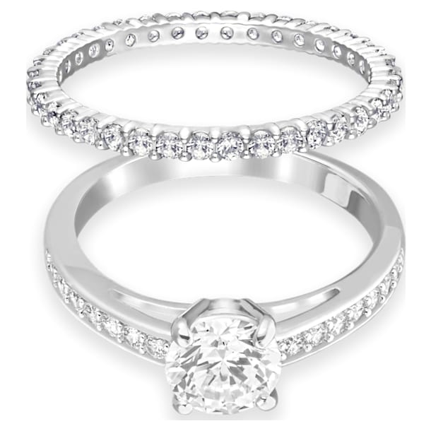 Attract Ring Set, White, Rhodium plated - Swarovski, 5184979