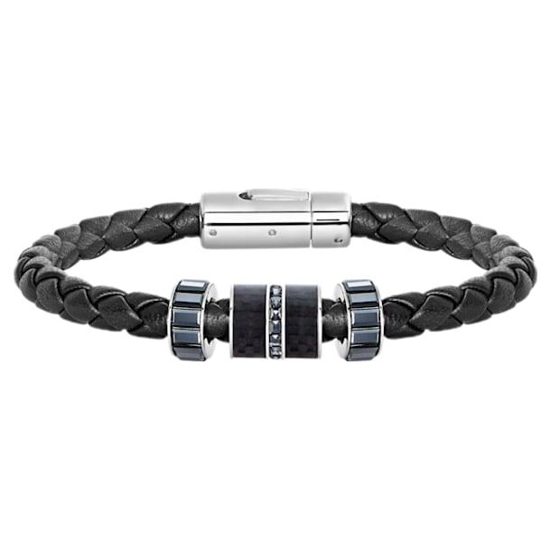 Diagonal Armband, Leder, schwarz, Edelstahl - Swarovski, 5185336