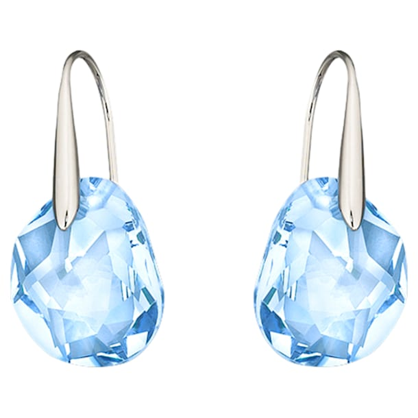 Galet Pierced Earrings, Blue, Rhodium plated - Swarovski, 5187532