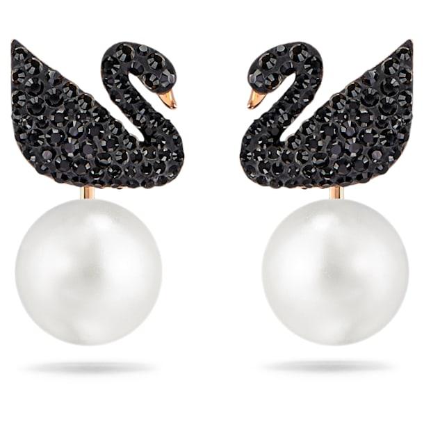 Swarovski Iconic Swan серьги-джекеты, Лебедь, Черный цвет, Покрытие оттенка розового золота - Swarovski, 5193949
