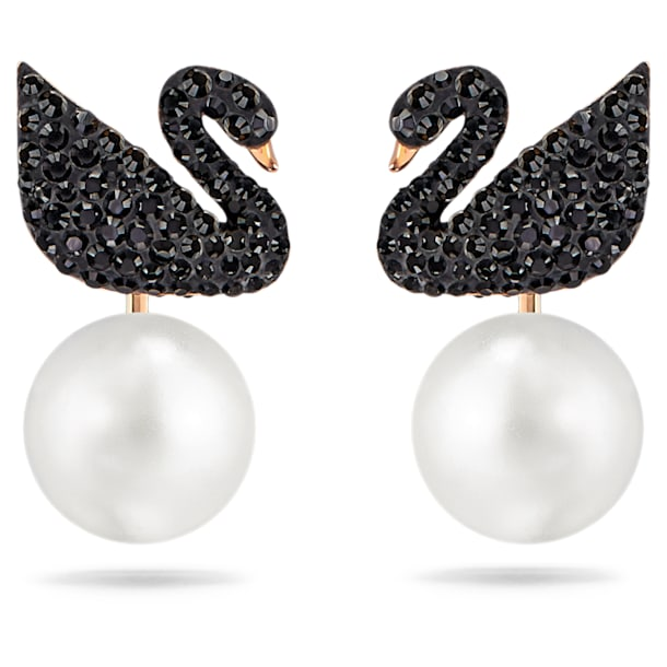Accesorii detașabile pentru cercei cu șurub Swarovski Iconic Swan, Negru, Placat cu nuanță roz-aurie - Swarovski, 5193949