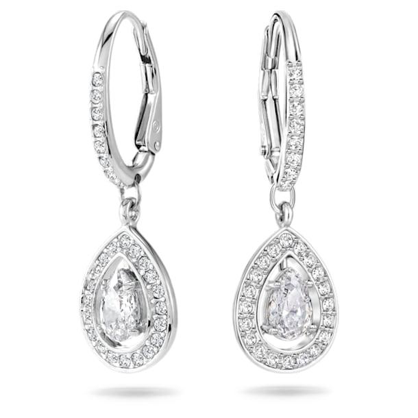 Angelic earrings, Pear cut crystal, White, Rhodium plated - Swarovski, 5197458