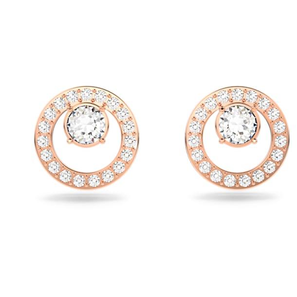 Brincos para orelhas furadas Creativity Circle, brancos, banhados com tom rosa dourado - Swarovski, 5199827