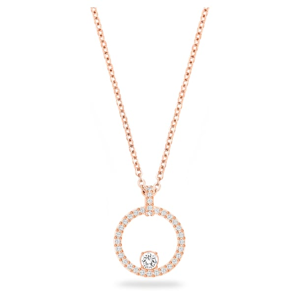 Creativity Circle Pendant, White, Rose-gold tone plated - Swarovski, 5202446
