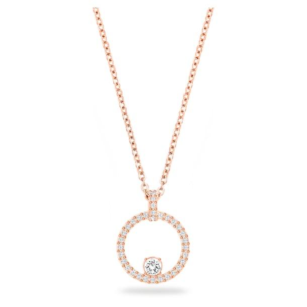 Creativity Circle Pendant, White, Rose-gold tone plated - Swarovski, 5202446