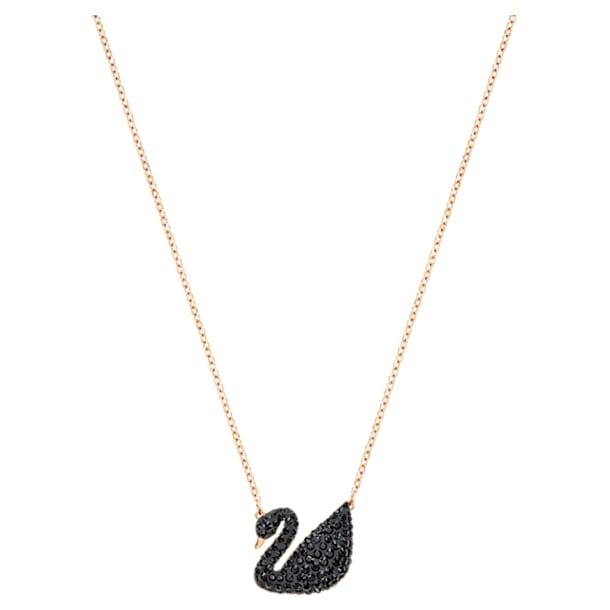 Přívěsek Iconic Swan, Černý, Pozlacený růžovým zlatem - Swarovski, 5204134