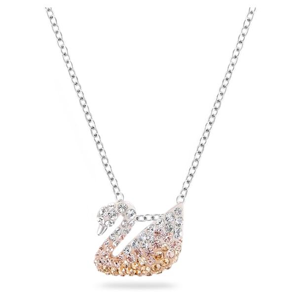 Swarovski Iconic Swan pendant, Swan, Small, Beige, Rhodium plated - Swarovski, 5215038