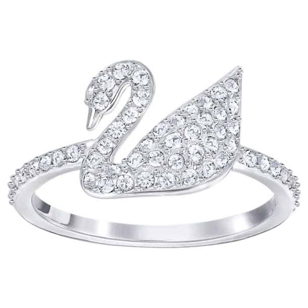 Swarovski Iconic Swan Ring, White, Rhodium plated - Swarovski, 5215040