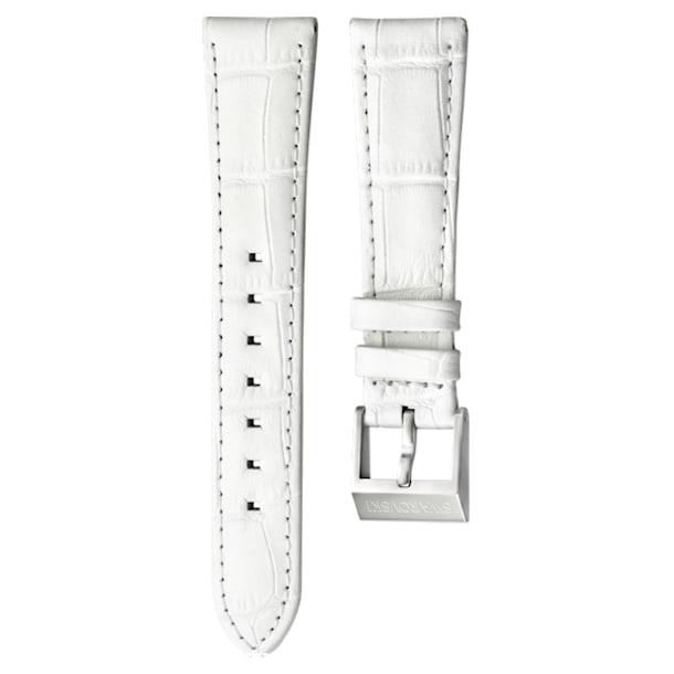 18mm Watch strap, Leather with stitching, White, Stainless Steel - Swarovski, 5222595