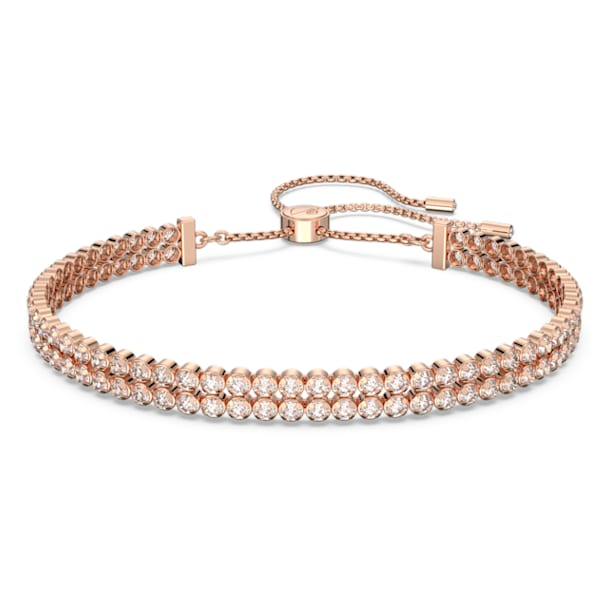 Subtle Bracelet, White, Rose-gold tone plated - Swarovski, 5224182