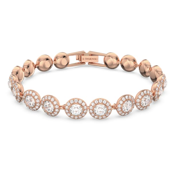 Angelic bracelet, Round, White, Rose-gold tone plated - Swarovski, 5240513