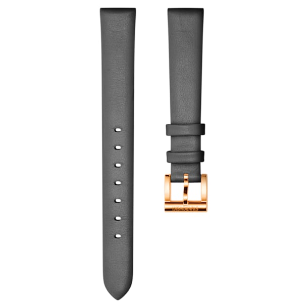 12mm Watch strap, Leather, Dark grey, Rose-gold tone plated - Swarovski, 5242460
