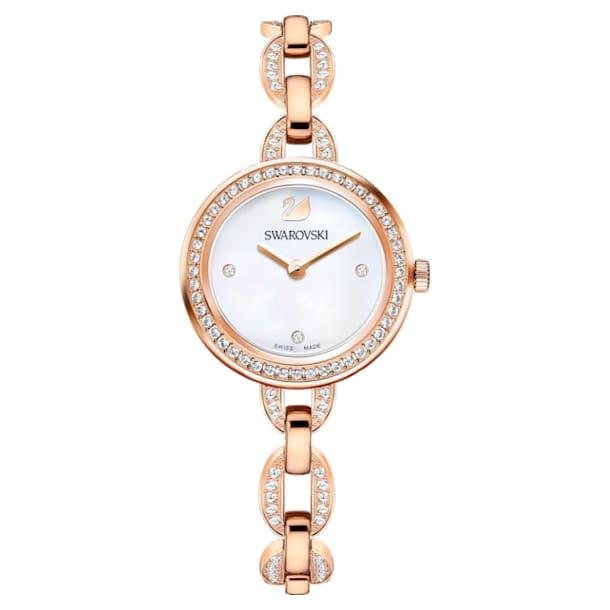 Aila Mini 腕表, 金属手链, 玫瑰金色调 PVD - Swarovski, 5253329