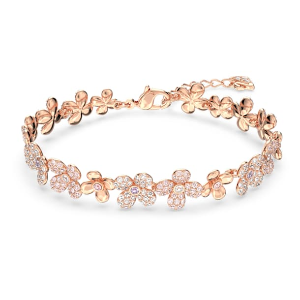 Elderflower 手链, 花朵, 粉红色, 镀玫瑰金色调 - Swarovski, 5253672