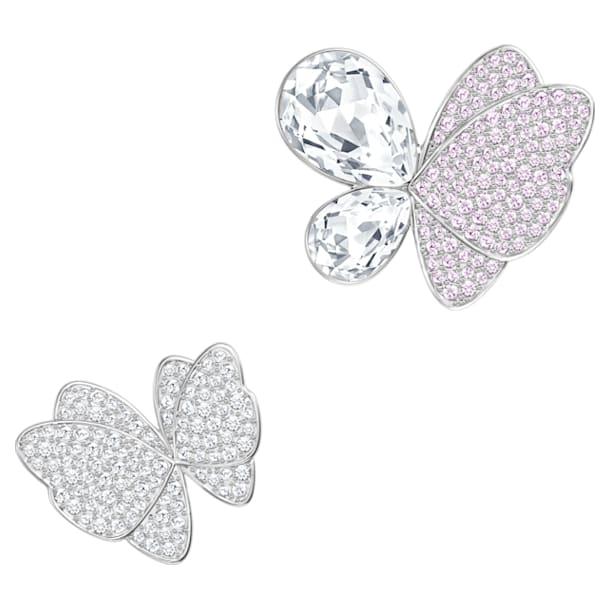 Gemina brooch, Set (2), Butterfly, Pink, Rhodium plated - Swarovski, 5255779